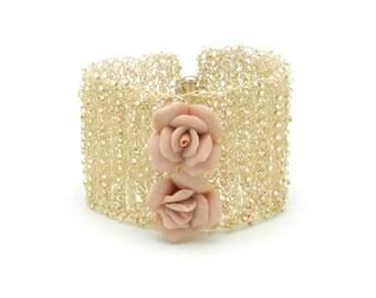 Wire Crochet Cuff, Wide Cuff Bracelet, Bridal Bracelet, Crochet Bracelet, Crochet Jewelry, Crochet Bracelet, Made by Durango Rose