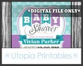 Teal Purple Baby Shower Invitation Chevron Polka Dots Polkadots Stripes Striped Theme Digital Printable Customized 5x7 White Turquoise DIY
