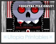 Vampire Skull Halloween Party Invitation Creepy Cute Kawaii Black White Gray Grey Red Purple Stripes Striped Printable Digital Custom DIY