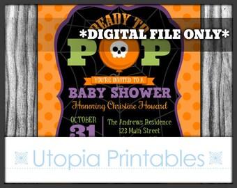 Halloween Baby Shower Invitation Ready To Pop Party Creepy Cute Funny Theme Skull Balloon Polka Dot Digital Printable 5x7 DIY
