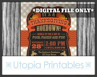 Thanksgiving Hoedown Invitation Cowboy Country Western Theme Old West Fall Autumn Dinner Party Digital Printable Customized Rural Holiday
