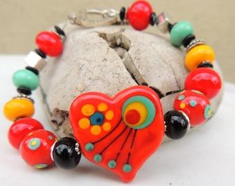 I HEART YOU Handmade Lampwork Bead Bracelet