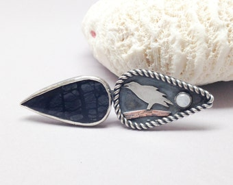 The Raven, Adjustable Statement Ring, Size 8 1/4 - 9 Dual Stone Jasper and MoonStone Ring, Metalsmith Handcrafted Sterling Silver Ring