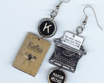 The Metamorphosis Book Cover Earrings - Franz KAFKA - Typewriter jewelry - Literary readers student librarian gift - Quote Philosophy