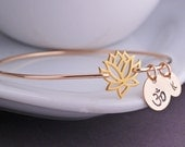 Lotus Jewelry, Lotus Bracelet, Lotus Flower Bangle Bracelet, Yoga Jewelry, Gold Bangle Bracelet, Stacking Bangles, Fall Fashion