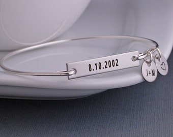 Bar Bracelet, Personalized Date Bracelet with Initial Charm, Anniversary Gift, New Mom Gift, Custom Engraved Bangle Bracelet