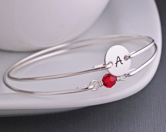 July Birthday, Ruby Crystal Bracelet Set, Personalized Silver Bangle, Ruby Bangle Bracelet, Initial Bangle Bracelet Set