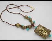 ALL THINGS TIBETAN - Handmade Tibetan Repoussee Pendant - Tibetan Turquoise - Long Statement Necklace