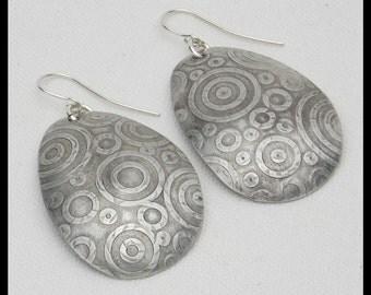 ESMERELDA - Handforged Embossed Domed & Antiqued Pewter Statement Earrings