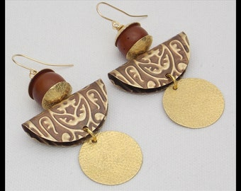 MIRASOL - Handforged Embossed and Hammered Bronze & Resin Amber Statement Earrings