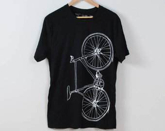 SMALL Men's Fixie Tee Slub Texture- Black & White- S