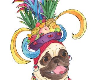 Carmen Miranda Pug Art Print, Pug Dog Lover Art Gift, Funny Animal Art Print, Dog Lover Gifts For Men, For Women, Wall Decor Under 20