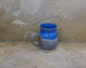 Mug Cup - Handmade Stoneware Pottery Ceramic - Indigo Blue and Charcoal Grey -10 ounce