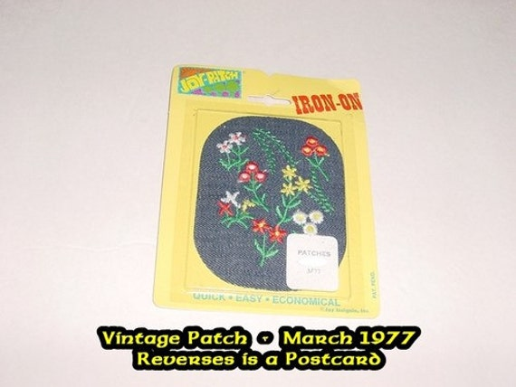 Vintage Postcard with Iron-on Patch - Applique - Flowers