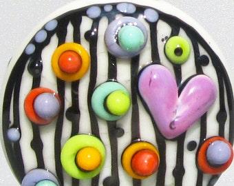 Mod Spot Stripey Heart Patty--Handmade Lampwork Bead