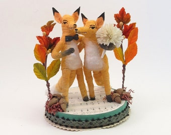 Vintage Style Spun Cotton Fox Wedding Topper OOAK