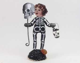 Spun Cotton Vintage Style Halloween Skeleton Child Figure
