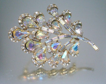 Gorgeous Large Aurora Borealis Rhinestone Flower Leaf  Brooch