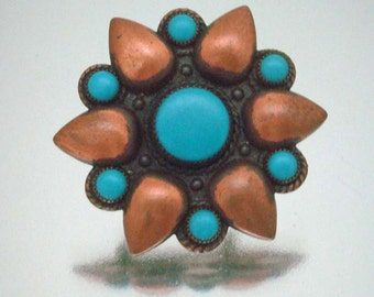 Bell Copper & Turquoise Pin Brooch