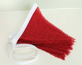 White and Red Burlap Valentines, Christmas decoration. Fabric sewn Burlap flag Banner. Photo prop. 12 Pennant flags Bunting DIY customize