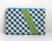 Navy Blue and lime credit card, cash wallet, zipper pouch. Teal purse with zipper. edeenut signature flat ruffle front. Padded.