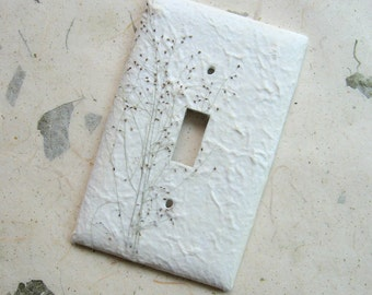 Gypsophila Nature Switch Plate - handmade paper, baby's breath, natural, botanical home decor, Nature inspired, earthy, eco, garden, ooak