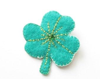 Felt Brooch - Sinead - Shamrock - Emerald Green Irish  - Accessory - Pin - Gift Idea