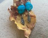 Sleeping Beauty Turquoise Leaf Earrings