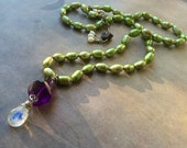 Green Pearl, Amethyst & Moonstone Necklace