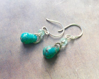 Kingman Turquoise & Aquamarine Earrings