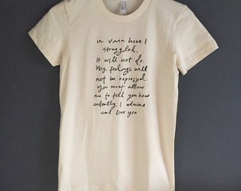 SALE - size medium - organic cotton Tshirt - Jane Austen