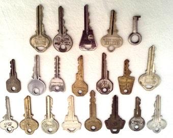 Large Lot of TWENTY (20) Vintage Keys for Assemblage or Mixed Media Art