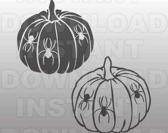 Pumpkins Halloween Spiders SVG File-Cutting Template-Vector Clip Art for Commercial & Personal Use-Download-Cricut,Cameo,Explore,Decal,Vinyl