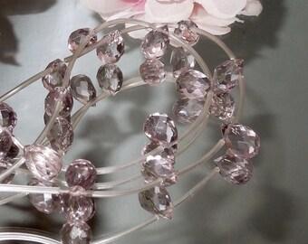4 Light Amethyst Purple Glass Teardrop Briolette 9x12mm-Bastet's Beads-