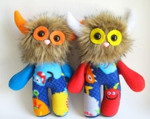 Kids Toys Stuffed Animal Monster Doll Plush Toy Handmade Toys Boy Gifts Girls Toys Gifts for Nephew Gift for Niece Colorful Toy Orange Blue