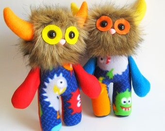 Toy Monster Doll Colorful Stuffed Animal Plush Handmade Boy Gifts Girls Toys Gifts for Nephew Gift for Niece Orange Yellow Red Blue