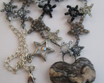 Gothic Stormy Weather Stars Clay Heart Necklace