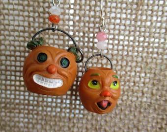 RETRO Halloween Resin Monster Pumpkin Face Baskets Earrings