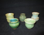 SALE  set of mini vessels in assorted green glazes, stoneware pottery, dishwasher and food safe