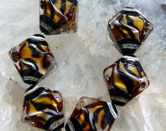 Wild Tiger  - Set of 6 Crystal Bicone Beads - SRA Glass Lampwork