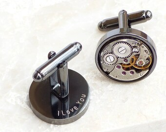 Personalized Gunmetal Vintage Watch Movement Steampunk Cufflinks