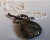VALENTINE SALE Dark forest pendant, sterling silver twig necklace, Labradorite toggle pendant, one of a kind