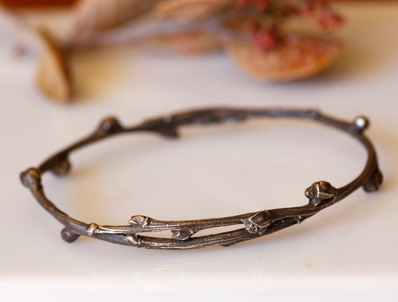Willow twig bangle, sterling silver, blackened twig jewelry, ready to ship