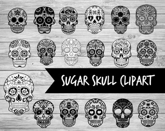 Sugar skull, Digital, Sugar skull clip art, 15 images, Instant download, mexican skull, clip art, PNG files Dia di los Muertos, mexican