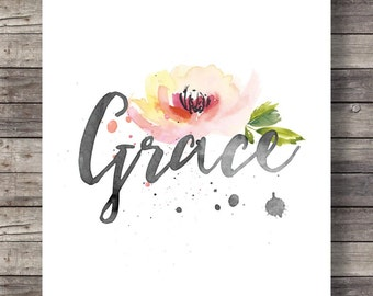 GRACE - Watercolor floral Typography art print - Christian Scripture print -  Instant download digital print