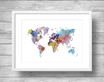 Rainbow Watercolor world map -  geography map art - Printable wall art  -  Art Print,  Watercolour map,  World map print, Home Decor