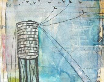 Original Painting - Original Artwork - Original Collage Art - Drawing - Water Tower Art - Water Tower Painting - Not So Fast