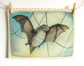 Bat Illustration - Bat Painting - Watercolor Painting - Watercolor of a Bat - Original Art - Original Painting - Home Decor - Batwings