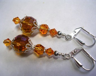 Dark Topaz Earrings Faceted Topaz Glass and Swarovski Crystal Earrings Wire Wrapped Dangle Leverback Hooks Amber Earrings Gifts under 5