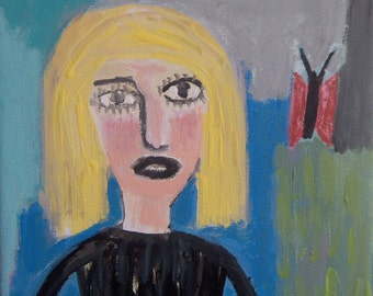 Girl w/ Butterfly Original  Painting Blonde Girl Raw Abstract Primitive Naive Outsider Folk Art- by Sari  - 1312